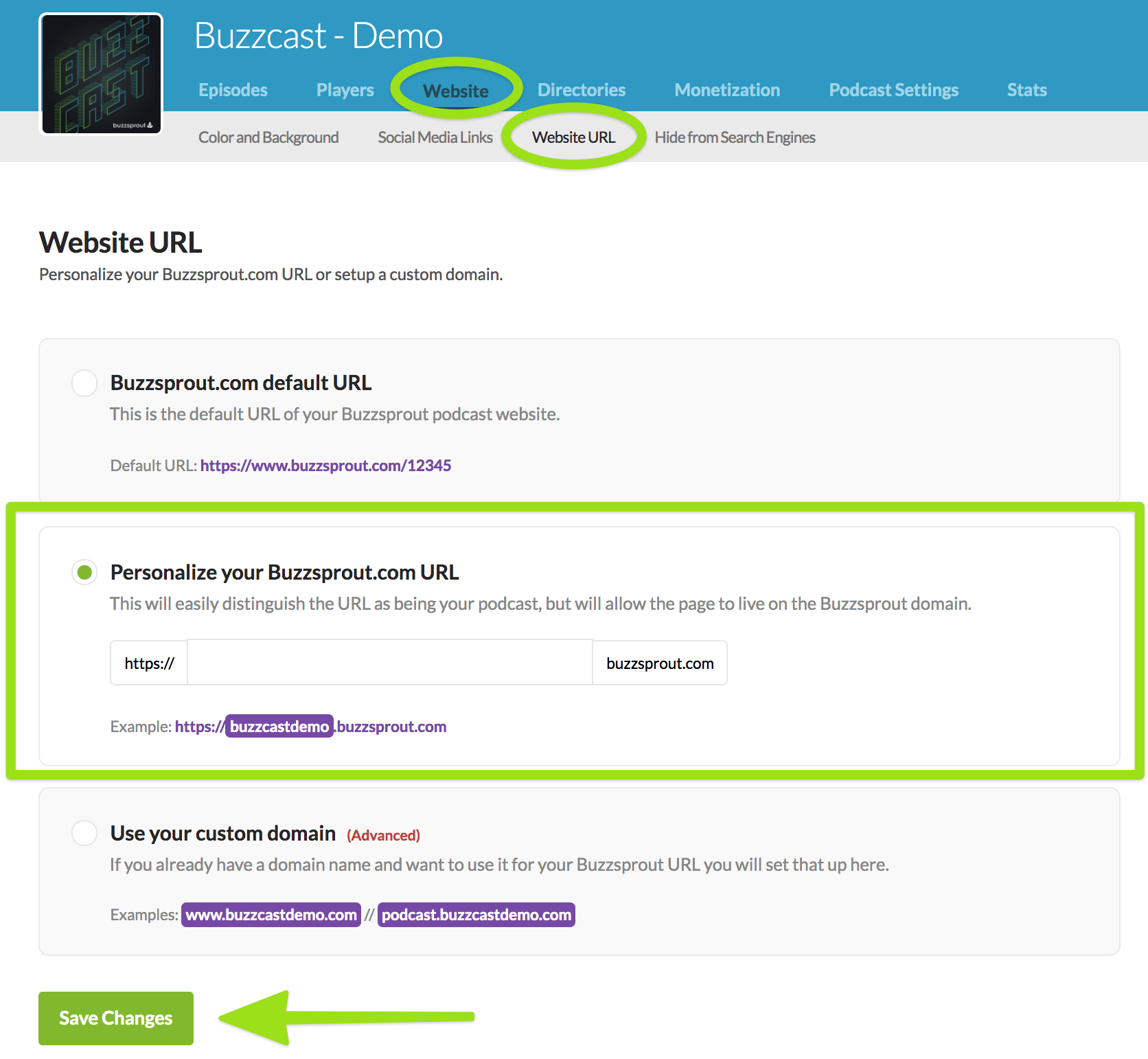 Customize your Buzzsprout Website URL - Buzzsprout Help
