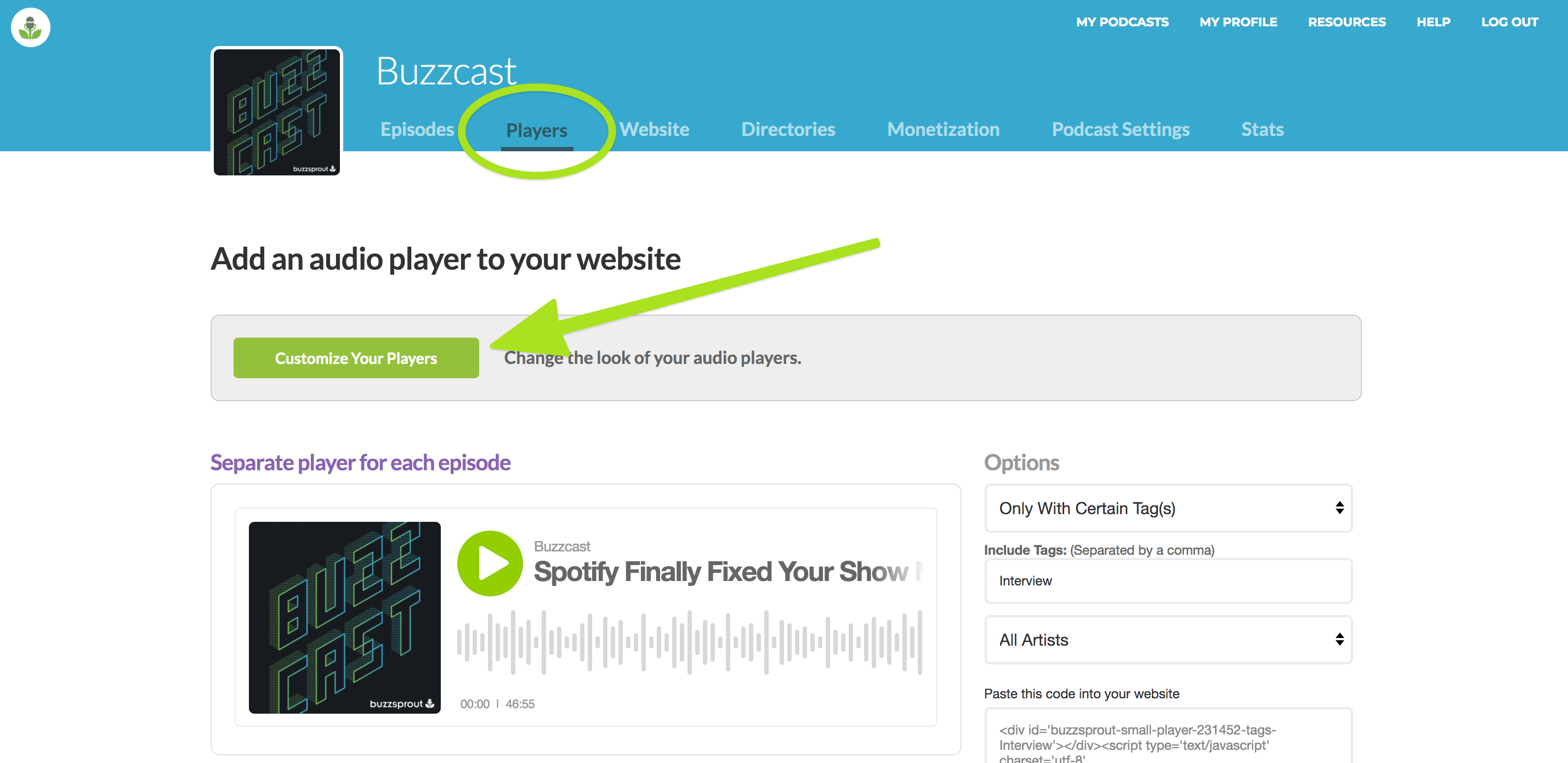 Customize Podcast Player