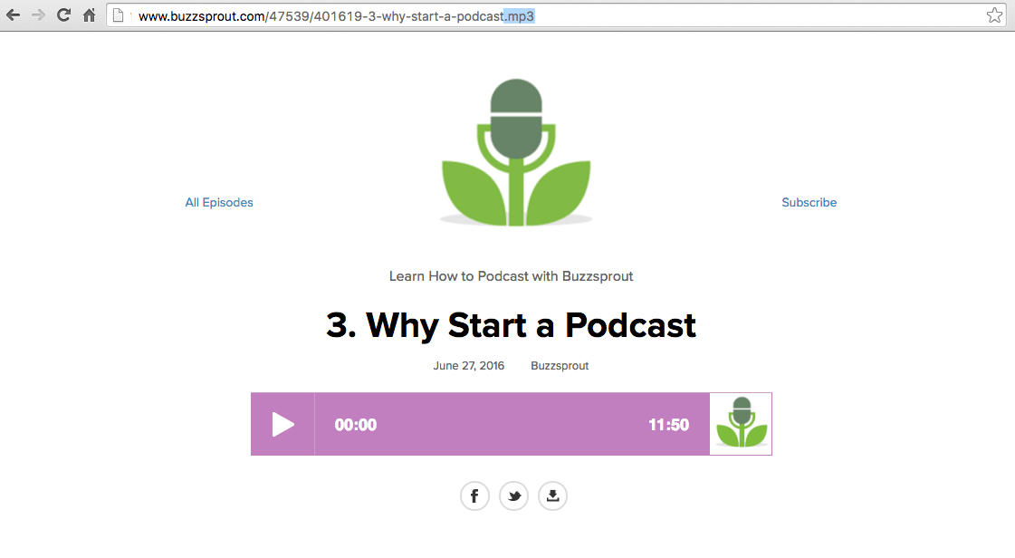 Direct link to podcast epiosde - Buzzsprout Help