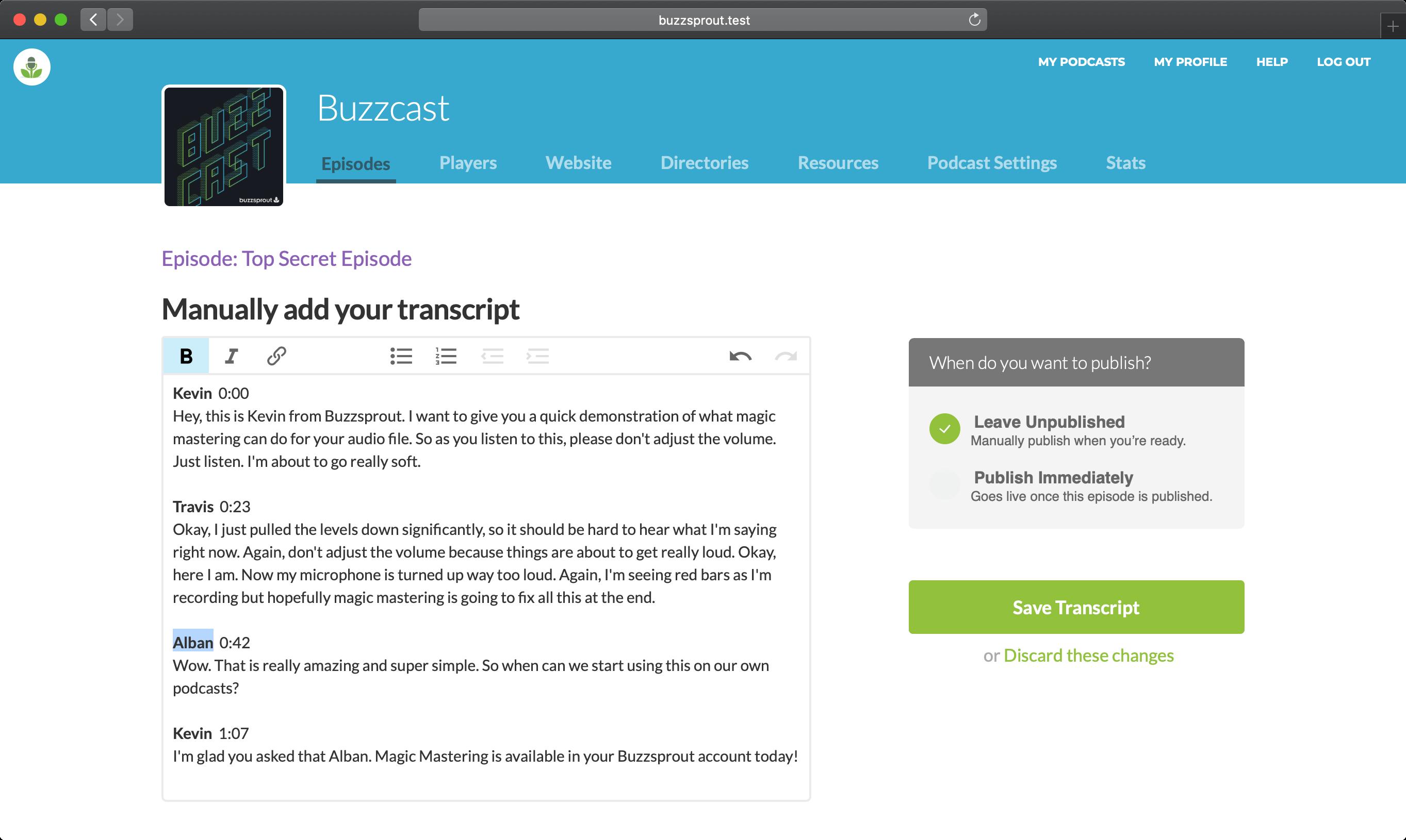 Format your transcript